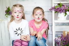 Cute Little Girls In Spring Studio Royalty Free Stock Photo