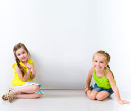 Cute little girls isolated Royalty Free Stock Photos
