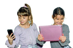 Cute little girls making selfie Royalty Free Stock Images