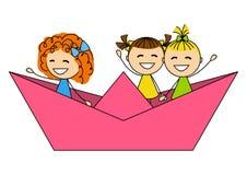 Cute little girls stock illustration