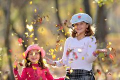 Cute little girls in the park Royalty Free Stock Photography