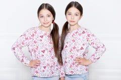 Cute little girls posing stock image