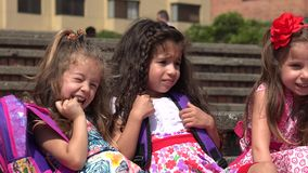 Cute Little Girls Preschool Kids. Three Female Hispanic Preschool Children stock footage
