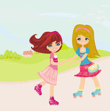 Cute little girls ride on rollers. Illustration Stock Image
