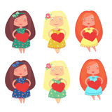 Cute little girls. Set cartoon characters happy  little girls, vector illustration Stock Photos
