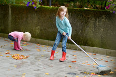 Cute little girls sweeping dry leaves on autumn Royalty Free Stock Photo