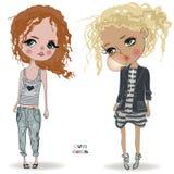 Cute little girls. Two cute fashion little girls vector illustration