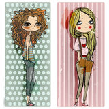 Cute little girls stock illustration
