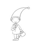 Cute little gnome with clover and watering. Isolated objects on white background. Vector illustration royalty free illustration