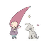 Cute little gnome and the dog. Royalty Free Stock Images