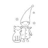 A cute little gnome, a kitten and stars. Funny elves. Royalty Free Stock Photo