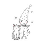 A cute little gnome, a kitten and stars. Funny elves. Stock Photography