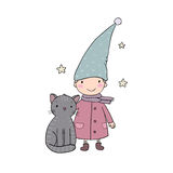 A cute little gnome, a kitten and stars. Funny elves. Stock Photo