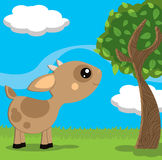 Cute little goat in a countryside landscape. Illustration about a cute little goat sheeps enjoying the sunny country on a spring day Royalty Free Stock Photos