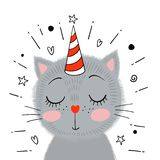 Cute little gray kitten. Vector illustration. stock illustration