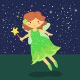 Cute Little Green Fairy Stock Photo
