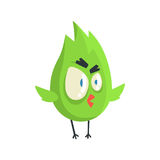 Cute little green funny angry chick bird standing colorful character vector Illustration. On a white background royalty free illustration