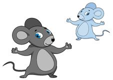 Cute little grey cartoon mouse Stock Images