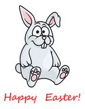 Cute little grey Happy Easter bunny Stock Images