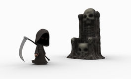 Cute little grim reaper. Character for Halloween isolated on white Royalty Free Stock Image