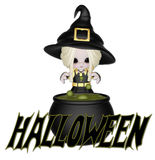 Cute Little Halloween Witch. Designed with this cute little child like witch who is brewing up a spell in her cauldron. And the word Halloween added. This is Royalty Free Stock Photos