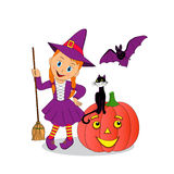 Cute little halloween witch Stock Photos