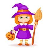 Cute little halloween witch royalty free stock photos