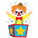 Clown box surprise. Cute little happy clown boy coming out of inside surprise box stock illustration