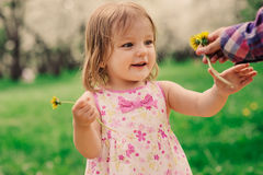 Free Cute Little Happy Toddler Girl Portrait Walking In Spring Or Summer Park Stock Photos - 88055163