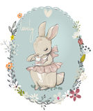 Cute little hares with flowers. Cute little cartoon hares with flower frame Royalty Free Stock Images