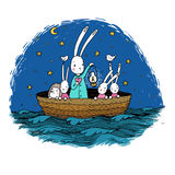 Cute little hares and hedgehog floating in a boat on the river. stock illustration