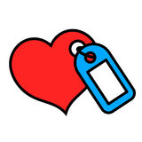 Cute little heart icon with hang tag Royalty Free Stock Photos