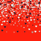 Cute little hearts background, different size and colors, random order, bright bold colors stock illustration