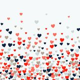 Cute little hearts background, different size and colors, random order, bright bold colors vector illustration
