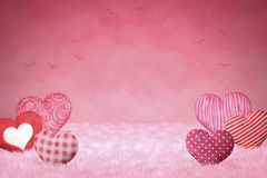 Cute little hearts on a pink background Stock Photography