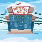 Cute little house with a sign rental skates Royalty Free Stock Images