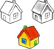 Cute little house vector sketch illustration Stock Photo
