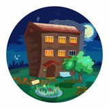 Cute little houses at night. Stock Photos