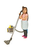 Cute little housewife cleaning house Stock Images