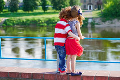 Cute little hugging children royalty free stock photography
