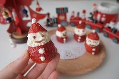 Cute Little Ichigo Strawberry and Cream Santa Claus Stock Image