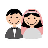 Cute little just married couple. Illustration design Royalty Free Stock Photo