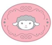 Cute Little Kawaii Style Baby Sheep Head In Ellipse Design Element with Swirl Decoration Pastel Pink Color Vector Illustration Iso. Lated on white. All elements royalty free illustration
