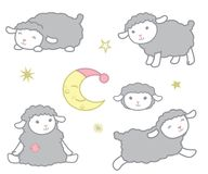 Cute Little Kawaii Style Gray Baby Sheep Design Elements Set Vector Illustration Isolated on White. All elements are grouped together logically and easy to stock illustration
