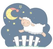 Cute Little Kawaii Style Sheep Jumping Over White Picket Fence Under the Crescent Moon with Night Cap and Stars Night Scene Dreamy. Counting sheep vector vector illustration