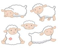 Cute Little Kawaii Style White Baby Sheep Design Elements Set Vector Illustration Isolated on White. All elements are grouped together logically and easy to royalty free illustration