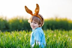 Little kid boy having fun with traditional Easter egg hunt. Cute little kid boy with bunny ears having fun with traditional Easter eggs hunt on warm sunny day Royalty Free Stock Photography