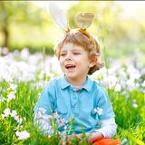 Cute little kid boy with Easter bunny ears celebrating traditional feast. Happy child smiling on warm sunny day. Family stock photos