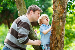 Cute little kid boy enjoying climbing on tree with father, outdo Stock Images