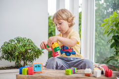 Cute little kid boy with playing with lots of colorful plastic blocks indoor. Active child having fun with building and. Creating of tower. Promotion of skills Stock Images